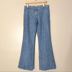 Theory Chambray Wide Leg Lightweight Jeans Pants
